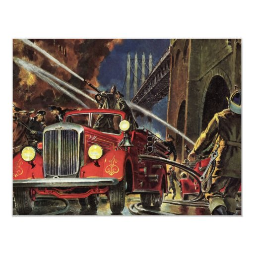 "Vintage Business, Firemen Firefighters Fire Trucks 4.25"" X 5.5"" Invitation Card"