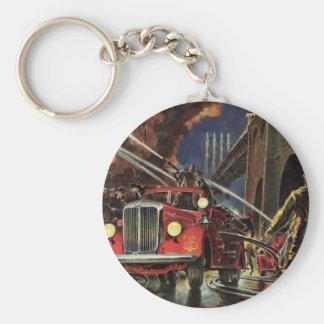 Vintage Business, Firemen Firefighters Fire Trucks Keychain