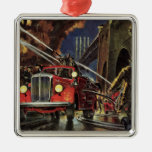 Vintage Business, Firemen Firefighters Fire Trucks Square Metal Christmas Ornament
