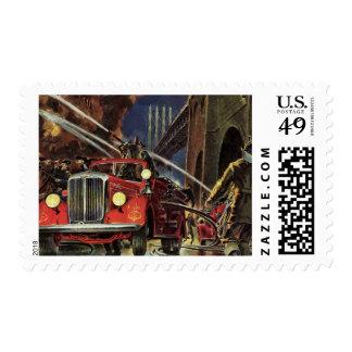 Vintage Business, Firemen Firefighters Fire Trucks Postage Stamp