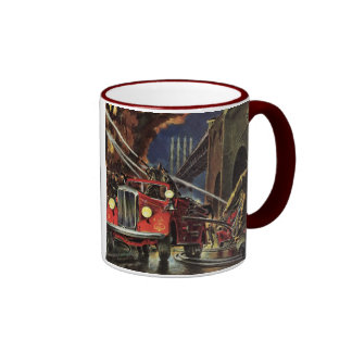 Vintage Business, Firemen Firefighters Fire Trucks Ringer Mug