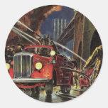 Vintage Business, Firemen Firefighters Fire Trucks Classic Round Sticker
