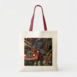 Vintage Business, Firemen Firefighters Fire Trucks Tote Bag