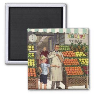 Vintage Business, Fruit Stand with Grocer and Boy Magnet