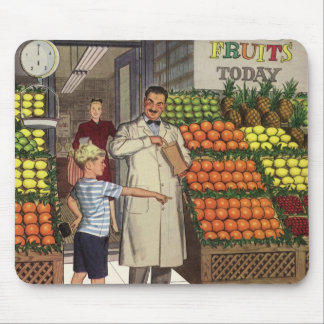 Vintage Business, Fruit Stand with Grocer and Boy Mouse Pad