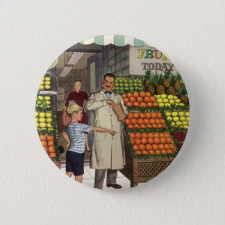Vintage Business, Fruit Stand with Grocer and Boy Pinback Button
