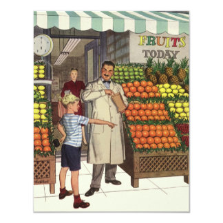 Vintage Business Grocer and Boy by the Fruit Stand 4.25x5.5 Paper Invitation Card