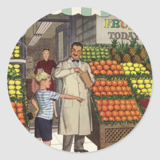 Vintage Business Grocer and Boy by the Fruit Stand Classic Round Sticker