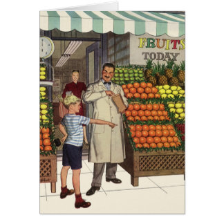 Vintage Business Grocer and Boy by the Fruit Stand Greeting Card