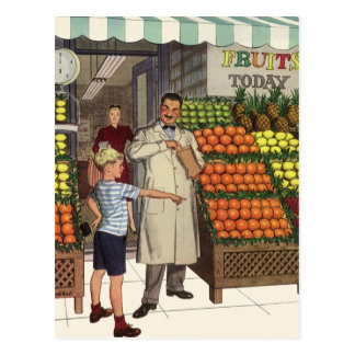 Vintage Business Grocer and Boy by the Fruit Stand Postcard