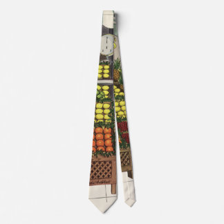 Vintage Business Grocer and Boy by the Fruit Stand Tie