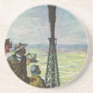 Vintage Business, Gushing Oil Well with Workers Beverage Coaster