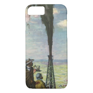 Vintage Business, Gushing Oil Well with Workers iPhone 8/7 Case