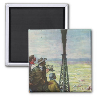 Vintage Business, Gushing Oil Well with Workers Fridge Magnets