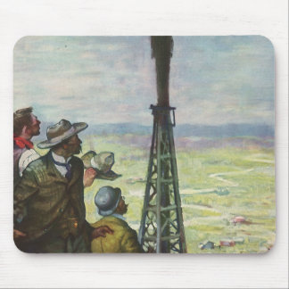 Vintage Business, Gushing Oil Well with Workers Mouse Pad