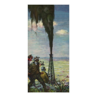 Vintage Business, Gushing Oil Well with Workers Poster