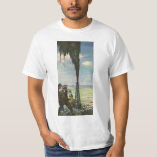 Vintage Business, Gushing Oil Well with Workers T-Shirt