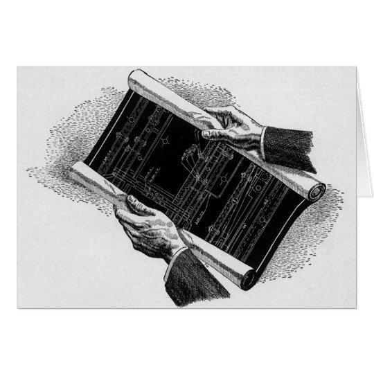 Vintage Business, Hands w Architectural Blueprints Card