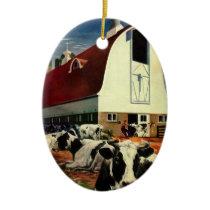 Vintage Business, Holstein Milk Cows on Dairy Farm Ceramic Ornament