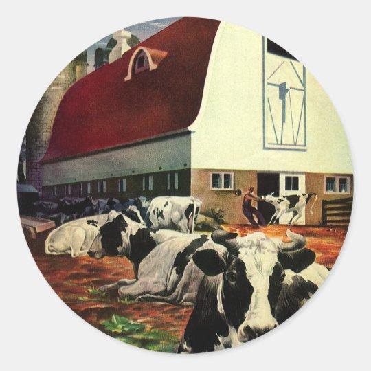 Vintage Business, Holstein Milk Cows on Dairy Farm Classic Round Sticker