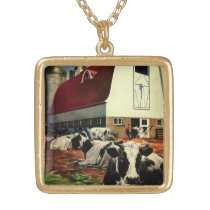 Vintage Business, Holstein Milk Cows on Dairy Farm Gold Plated Necklace