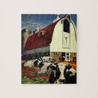 Vintage Business, Holstein Milk Cows on Dairy Farm Jigsaw Puzzle