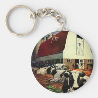 Vintage Business, Holstein Milk Cows on Dairy Farm Keychain