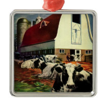 Vintage Business, Holstein Milk Cows on Dairy Farm Metal Ornament