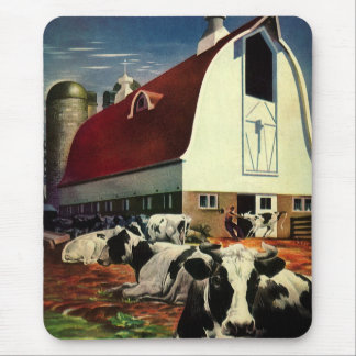 Vintage Business, Holstein Milk Cows on Dairy Farm Mouse Pad