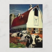 Vintage Business, Holstein Milk Cows on Dairy Farm Postcard