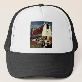 Vintage Business, Holstein Milk Cows on Dairy Farm Trucker Hat