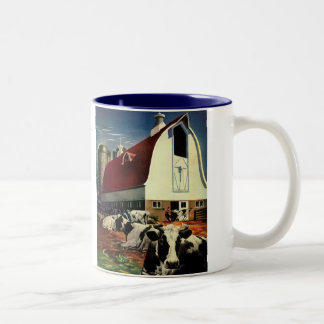 Vintage Business, Holstein Milk Cows on Dairy Farm Two-Tone Coffee Mug