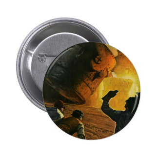 Vintage Business Industry, Steel Manufacturing Pinback Button
