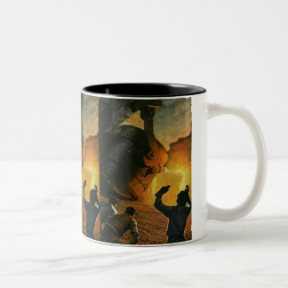 Vintage Business Industry, Steel Manufacturing Two-Tone Coffee Mug