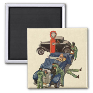 Vintage Business, Joe's Full Service Gas Station 2 Inch Square Magnet