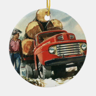 Vintage Business, Logging Truck with Lumberjacks Ceramic Ornament