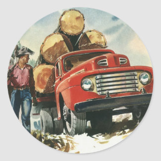Vintage Business, Logging Truck with Lumberjacks Classic Round Sticker