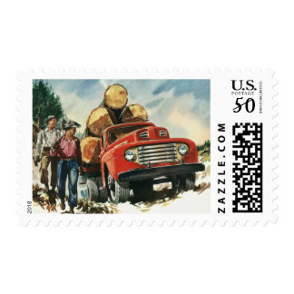 Vintage Business, Logging Truck with Lumberjacks Postage