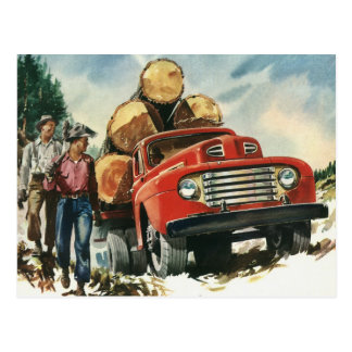 Vintage Business, Logging Truck with Lumberjacks Postcard