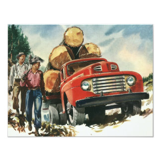 Vintage Business, Lumberjacks with Logging Truck Custom Invite
