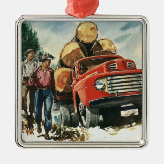 Vintage Business, Lumberjacks with Logging Truck Square Metal Christmas Ornament