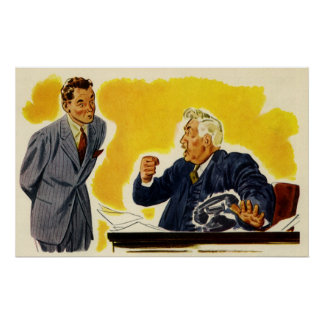 Vintage Business, Mad CEO Executive Boss Employee Poster