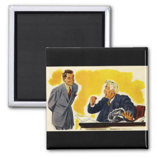 Vintage Business, Mad Executive CEO Boss Employee 2 Inch Square Magnet