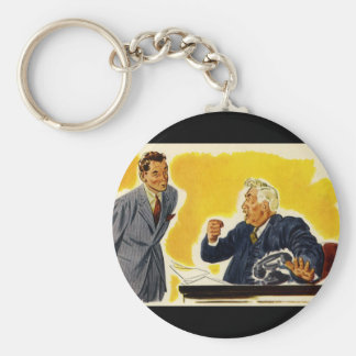 Vintage Business, Mad Executive CEO Boss Employee Basic Round Button Keychain