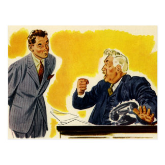 Vintage Business, Mad Executive CEO Boss Employee Postcard
