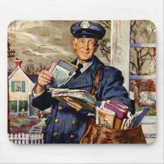 Vintage Business, Mailman Delivering Mail Letters Mouse Pad