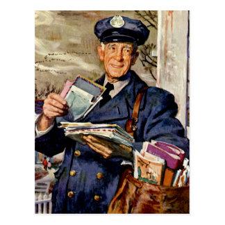 Vintage Business, Mailman Delivering Mail Letters Postcard