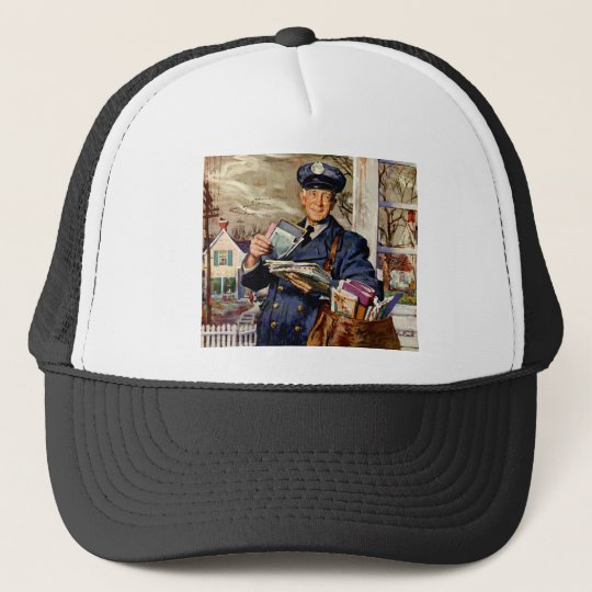 Vintage Business, Mailman Delivering Mail Letters Trucker Hat