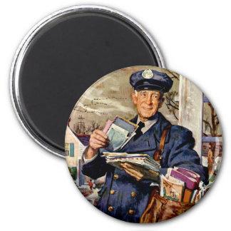 Vintage Business, Mailman Mail Delivering Letters 2 Inch Round Magnet