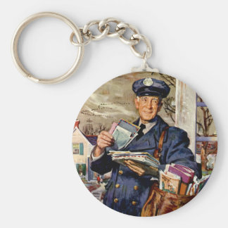 Vintage Business, Mailman Mail Delivering Letters Basic Round Button Keychain